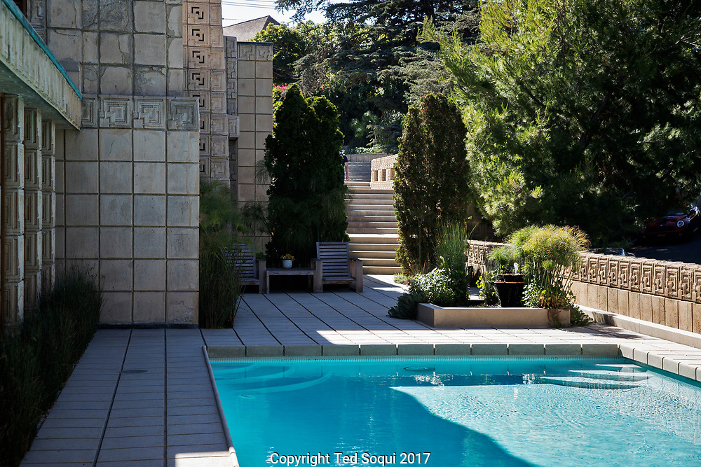 The Ennis House designed by Frank Lloyd Wright.<br /> Walkway to pool.