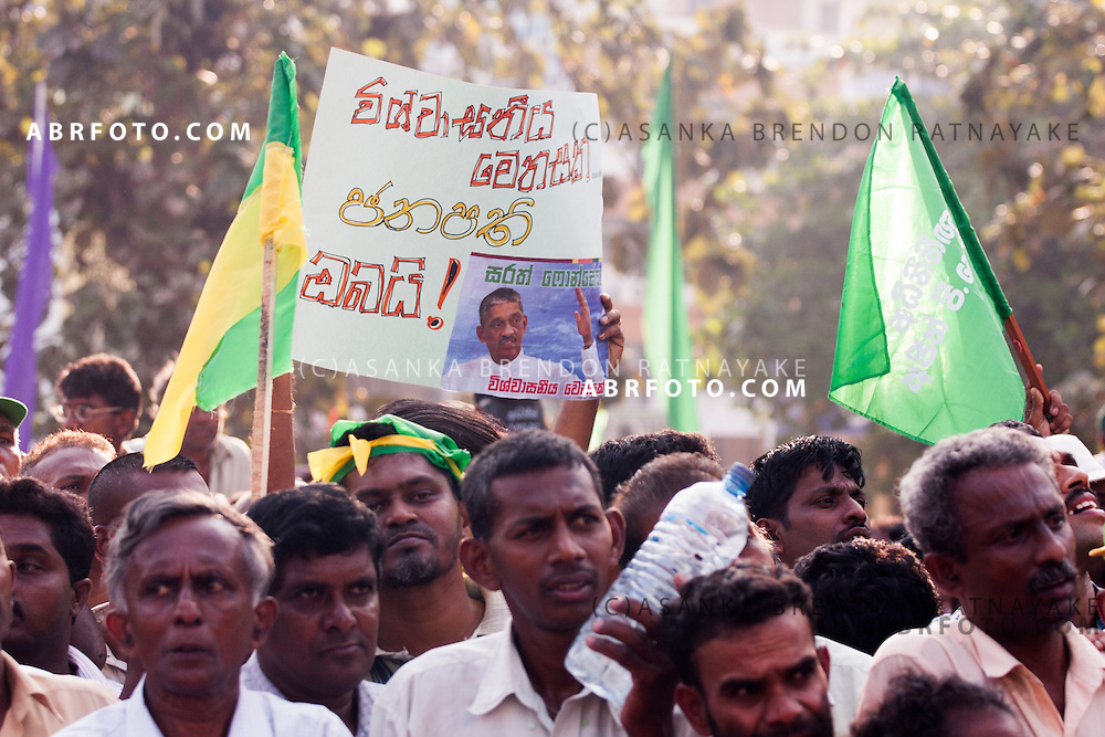 during a Democratic National Alliance protest led by Sarath Fonseka after losing the 2010 Sri Lankan Presidential Election in COlombo Sri Lanka