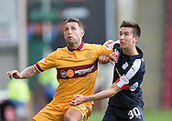 Motherwell&rsquo;s Scott McDonald and Dundee&rsquo;s Cammy Kerr - Motherwell v Dundee in the Ladbrokes Scottish Premiership at Fir Park, Motherwell. Photo: David Young<br /> <br />  - &copy; David Young - www.davidyoungphoto.co.uk - email: davidyoungphoto@gmail.com