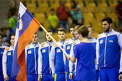 Players of Slovenia during handball match between National teams of Portugal and Slovenia in Semifinal of 2018 EHF U20 Men's European Championship, on July 27, 2018 in Arena Zlatorog, Celje, Slovenia. Photo by Urban Urbanc / Sportida