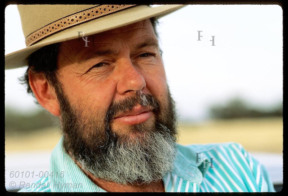 Greening Australia rep, Dick Green, sports classic Akubra hat & graying beard; New South Wales Australia