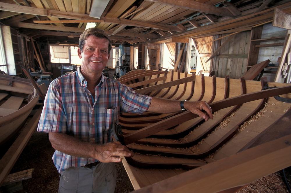Shipbuilder Joe Albury at his shop, Abury Brothers Boatbuilding, Man o war Cay Cay, Abaco Island, Bahamas