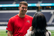 Cameron Brate (TE, Tampa Bay Buccaneers) interviews at the NFL Academy stadium showcase during the NFL Media Day held at Tottenham Hotspur Stadium, London, United Kingdom on 2 July 2019.