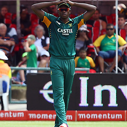 Cape Town, SOUTH AFRICA,  2016 - 14 February, Kagiso Rabada during the 5th South Africa v England 1 Day match at PPC  Newlands Cape Town, South Africa. (Photo by Steve Haag)<br /> <br /> Images for social media must have consent from Steve Haag