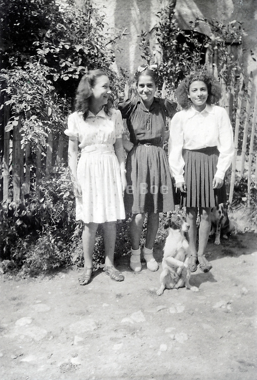 three girl friends posing with pet dog sitting on its hind legs