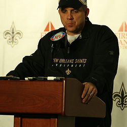 2007 December, 2: New Orleans Saints Head Coach speaks during a post game press conference following a 27-23 win by the Tampa Bay Buccaneers over the New Orleans Saints at the Louisiana Superdome in New Orleans, LA.