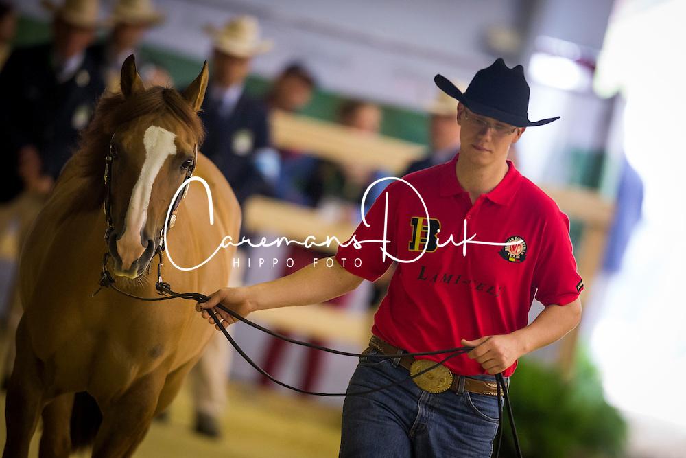 Matyas Gobert, (BEL), Chicy Smart Jac - Horse Inspection Reining  - Alltech FEI World Equestrian Games™ 2014 - Normandy, France.<br /> © Hippo Foto Team - Dirk Caremans<br /> 25/06/14