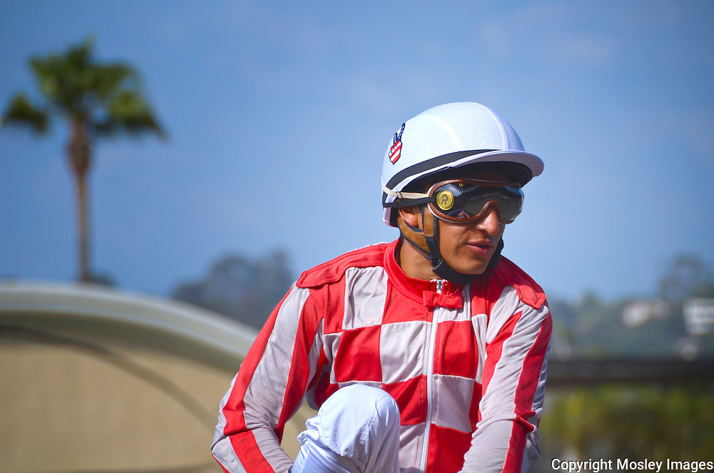 Horse-Racing Jockey Rafael Bejarano rides high on way to winners circle yet again. Photo by Mosley Images, Lincoln Nebraska