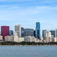 Chicago skyline panorama high resolution photo. Picture includes entire downtown Chicago city skyline skyscrapers and office buildings along the Lake Michigan lakefront including the Shedd Aquarium, Willis Tower (Sears Tower), Trump Tower, and the Hancock Building. Panoramic raito is 1:7 and photos were taken in October of 2011.