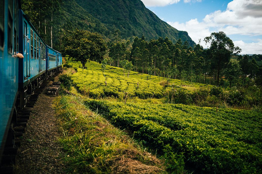 Ella, Sri Lanka -- February 1, 2018: A train cuts its way through mountains and tea plantations in hill country.