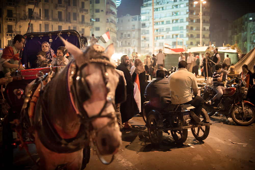 A family sit in a horse-drawn carriage on Tahrir Square in Cairo, Egypt, July 5, 2013
