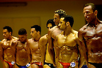 Behind the scene of a bodybuilding contest in Tel Aviv