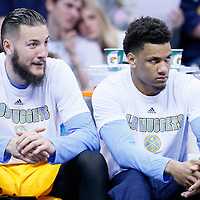 04 March 2016: Denver Nuggets center Joffrey Lauvergne (77) is seen next to Denver Nuggets forward Axel Toupane (6) during the Brooklyn Nets 121-120 victory over the Denver Nuggets, at the Pepsi Center, Denver, Colorado, USA.