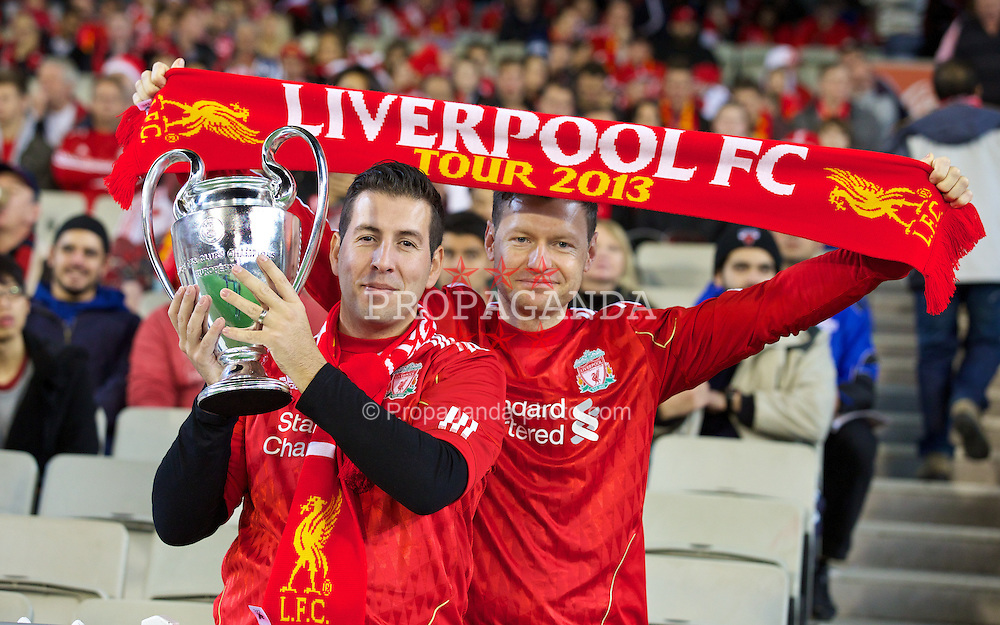 MELBOURNE, AUSTRALIA - Wednesday, July 24, 2013: Liverpool's supporters with a European Cup before a preseason friendly match against Melbourne Victory at the Melbourne Cricket Ground. (Pic by David Rawcliffe/Propaganda)