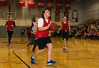Amanda Berg looks to the basket for her shot during Belmont High School's unified basketball game on Thursday morning.  (Karen Bobotas/for the Laconia Daily Sun)