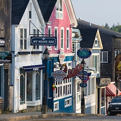 Early morning on Main Street in Bar Harbor, Maine.