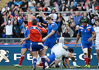 Rome, Italy -Fall realized try for France during Italia vs Francia race of the championship rugby SIX NATIONS played at the Olimpico in Rome.(Credit Image: © Gilberto Carbonari/).