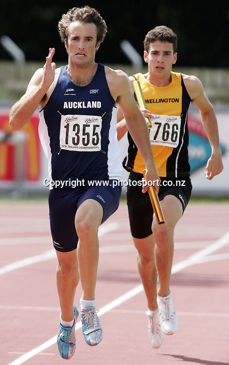 Sam Rapson (Auckland) competes in the Men's 4x400m final at the 2007 Union Athletics New Zealand Track &amp; Field Championships at TET Stadium, Inglewood, New Zealand on Sunday 4 March 2007. Photo: Hannah Johnston/PHOTOSPORT<br /> <br /> <br /> <br /> 040307