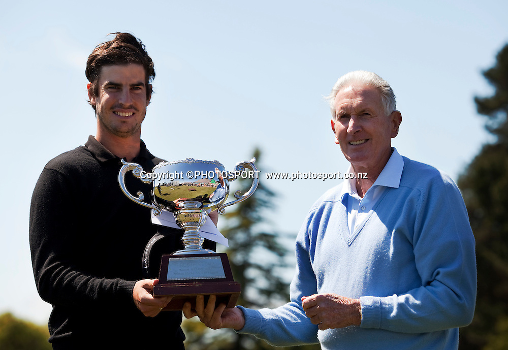 Nick Gillespie with the trophy and Sir Bob Charles on the final day. United Fisheries Shirley Open 2011. The Charles Tour. Shirley Golf Club. Sunday 23 October 2010. Photo: Joseph Johnson / www.photosport.co.nz