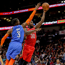 Dec 12, 2018; New Orleans, LA, USA; New Orleans Pelicans forward Julius Randle (30) shoots over Oklahoma City Thunder forward Nerlens Noel (3) during the second half at the Smoothie King Center. Mandatory Credit: Derick E. Hingle-USA TODAY Sports