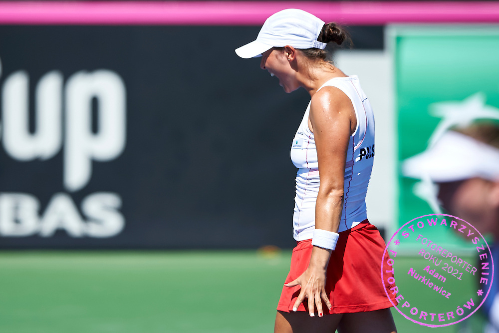 KAILUA KONA, USA - 2016 FEBRUARY 07: Klaudia Jans - Ignacik from Poland competes at women's double during the Fed Cup World Group II 1st round tennis match between USA and Poland on February 07, 2016 at Holua Tennis Center in Kailua Kona, USA.<br /> <br /> Picture also available in RAW (NEF) or TIFF format on special request.<br /> <br /> Any editorial, commercial or promotional use requires written permission from the author of image.<br /> <br /> Adam Nurkiewicz declares that he has no rights to the image of people at the photographs of his authorship.<br /> <br /> Mandatory credit:<br /> Photo by &copy; Adam Nurkiewicz / Mediasport