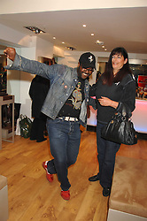 Florist ORLANDO HAMILTON and his wife VICKIE at the official launch of Kate Kuba & UGG Australia store, 22 Duke of York Square, London SW3 on 10th October 2007.<br />