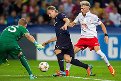 19.08.2014, Red Bull Arena, Salzburg, AUT, UEFA CL, FC Red Bull Salzburg vs Malmö FF, Play Off, Hinspiel, im Bild v.l.: Robin Olsen (Malmoe FF), Markus Halsti (Malmoe FF), Kevin Kampl (FC Red Bull Salzburg) // during the UEFA Championsleague 1st Leg, Play Off Match between FC Red Bull Salzburg and Malmoe FF at the Red Bull Arena in Salzburg, Austria on 2014/08/19. EXPA Pictures © 2014, PhotoCredit: EXPA/ JFK