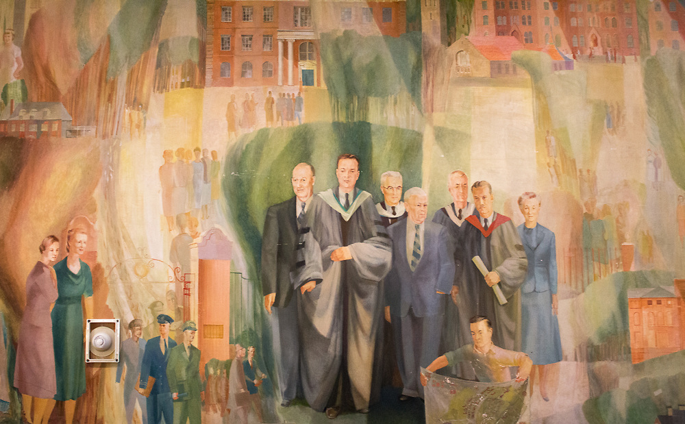 3/5/2018 - Medford/Somerville, MA - Murals on the walls in Alumnae Lounge (Lyndon Jackson - Tufts Daily).