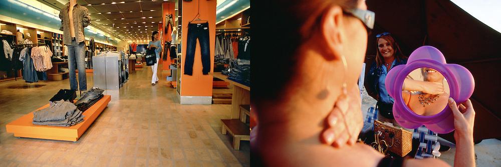 Interior de la lujosa tienda de Armani Exchange en el Promenade de Santa Monica..Una joven se prueba un collar frente a un espejo, ante la atenta mirada de la vendedora ambulante en su puesto de Venice Beach.