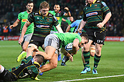 Harlequins centre Michele Campagnaro (23) scores a try during the Gallagher Premiership Rugby match between Northampton Saints and Harlequins at Franklins Gardens, Northampton, United Kingdom on 1 November 2019.