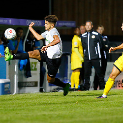APRIL 1:  Dover Athletic against Bromley in Conference Premier at Crabble Stadium in Dover, England. Dover's defender Josh Passley stretches to control the ball. (Photo by Matt Bristow/mattbristow.net)