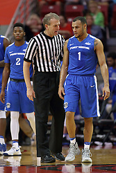 14 November 2016:  Randy Heimerman chats with Bryson Scott(1) during an NCAA  mens basketball game between the Indiana Purdue Fort Wayne Mastodons the Illinois State Redbirds in Redbird Arena, Normal IL
