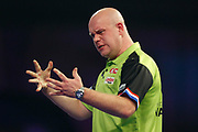 Michael van Gerwen rues a missed double during the World Darts Championships 2018 at Alexandra Palace, London, United Kingdom on 29 December 2018.