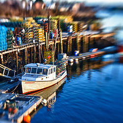 Lobster boats docked in the Piscataqua River in Portsmouth, New Hampshire. HDR.