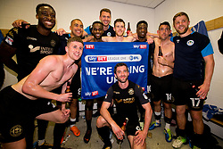Free to use courtesy of Sky Bet - Wigan Athletic celebrate winning promotion to the Sky Bet Championship - Mandatory by-line: Robbie Stephenson/JMP - 21/04/2018 - FOOTBALL - Highbury Stadium - Fleetwood, England - Fleetwood Town v Wigan Athletic - Sky Bet League One