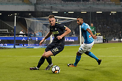 October 21, 2017 - Napoli, Napoli, Italy - Naples - Italy 21/10/2017.FAOUZI GHOULAM of  S.S.C. NAPOLI   and MILAN SKRINIAR of  Inter  fights for the ball during Serie A  match between S.S.C. NAPOLI and Inter  at Stadio San Paolo of Naples. (Credit Image: © Emanuele Sessa/Pacific Press via ZUMA Wire)