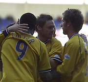 Reading, England, Nationwide Division One Football Reading v Preston North End, Graham Alexander [centre] surrounded by team mates after scoring in the second half, at the Madejski Stadium, on 18/10/2003 [Credit  Peter Spurrier/Intersport Images]..