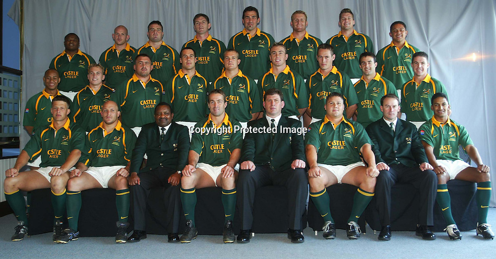10 August 2002, ABSA Stadium Durban, Tri - Nations, Rugby Union. New Zealand v South Africa. South African team photo. Pic: Noel Hammond/ Photosport