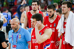 Sasha Aleksandar Djordjevic, head coach of Serbia, Dragan Milosavljevic of Serbia after the Final basketball match between National Teams  Slovenia and Serbia at Day 18 of the FIBA EuroBasket 2017 at Sinan Erdem Dome in Istanbul, Turkey on September 17, 2017. Photo by Vid Ponikvar / Sportida