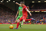 Liverpool midfielder James Milner  gets through into the box during the Barclays Premier League match between Liverpool and Sunderland at Anfield, Liverpool, England on 6 February 2016. Photo by Simon Davies.