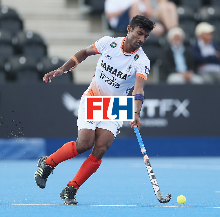 LONDON, ENGLAND - JUNE 15: Surender Kumar of India  during the Hero Hockey World League Semi Final match between India and Scotland at Lee Valley Hockey and Tennis Centre on June 15, 2017 in London, England.  (Photo by Alex Morton/Getty Images)