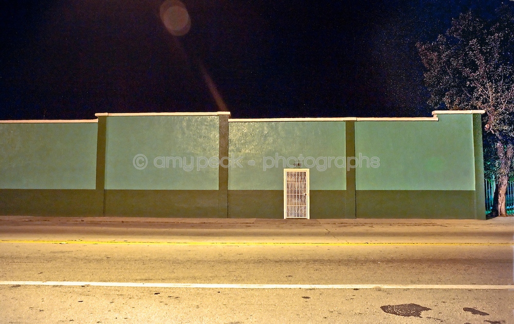 Night photos of buildings in derelict neighborhoods in Florida