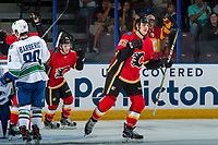 PENTICTON, CANADA - SEPTEMBER 10: Adam Ruzicka #63 of Calgary Flames celebrates a goal against the Vancouver Canucks on September 10, 2017 at the South Okanagan Event Centre in Penticton, British Columbia, Canada.  (Photo by Marissa Baecker/Shoot the Breeze)  *** Local Caption ***