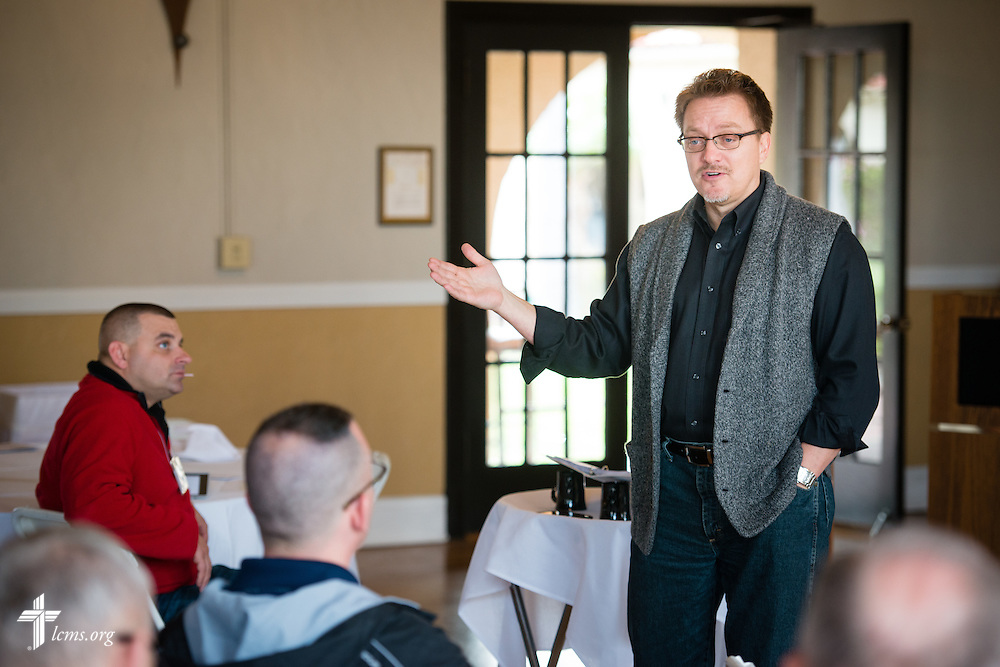 The Rev. Gregory Seltz, speaker of The Lutheran Hour radio program, speaks during the 2015 West Coast Lutheran Chaplains Professional Development Seminar Thursday, Jan. 29, 2015, at North Island Naval Air Station in San Diego, Calif. LCMS Communications/Erik M. Lunsford