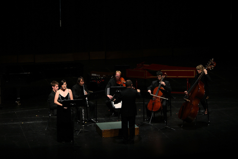 """Axiom Ensemble led by Conductor Jeffrey Milarsky and Soprano Mary Mackenzie perform """" Three Settings of Celan"""" by Birtwistle part of the Chamber Program at the Juilliard School on September 29, 2009 in New York City. photo by Joe Kohen for The New York Times"""