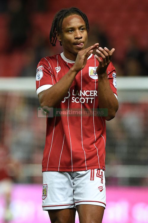 Bristol City's Bobby Reid applauds supporters after the Carabao Cup, third round match at Ashton Gate Stadium, Bristol.