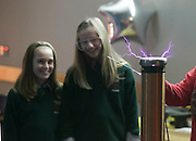 13/11/2012. News. Repro Free. Photographed at the 'Danger High Voltage' show during the Robert Boyle science festival organised by Calmast, the Science Outreach Centre at Waterford Institute of Technogy are Alana Carney and Lauren King from the Holy Cross Primary School, Tramore, Co. Waterford. Picture: Patrick Browne