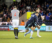 Iain Davidson and Greg Stewart celebrate Davidson's winner for Dundee while St Mirren's Mark McAusland is devastated -  St Mirren v Dundee, SPFL Premiership at St Mirren Park <br /> <br /> <br />  - &copy; David Young - www.davidyoungphoto.co.uk - email: davidyoungphoto@gmail.com