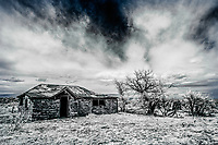 Abandoned adobe house in ghost town site of Engleville, Colorado