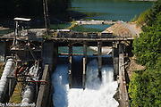 The Elwha Dam spillway before deconstruction September 6th, 2011. The Dam and powerhouse have since been removed as part of the restoration of the river to it's natural state.